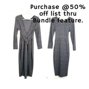 -ASOS Plaid Long Sleeve Plunge Dress Size 6
